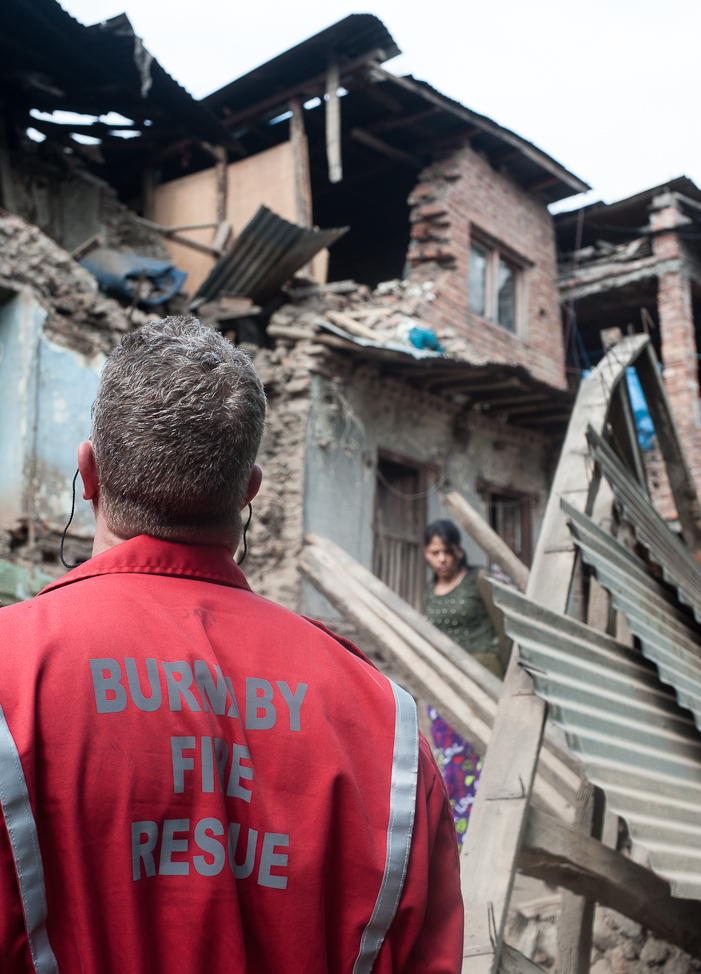 Day one of S&R work and building assessments  in Zone D, Kathmandu. SHAUN MADIGAN PHOTO.
