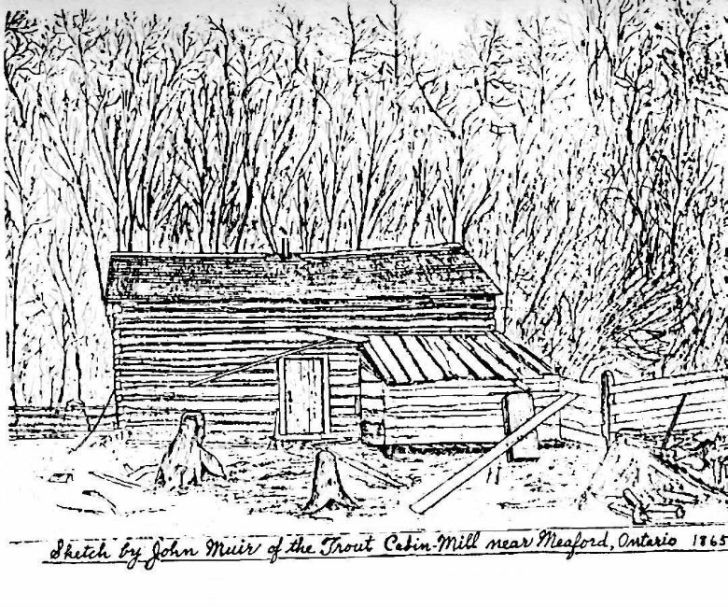 John Muir lived in this cabin near Meaford between 1864 and 1866.