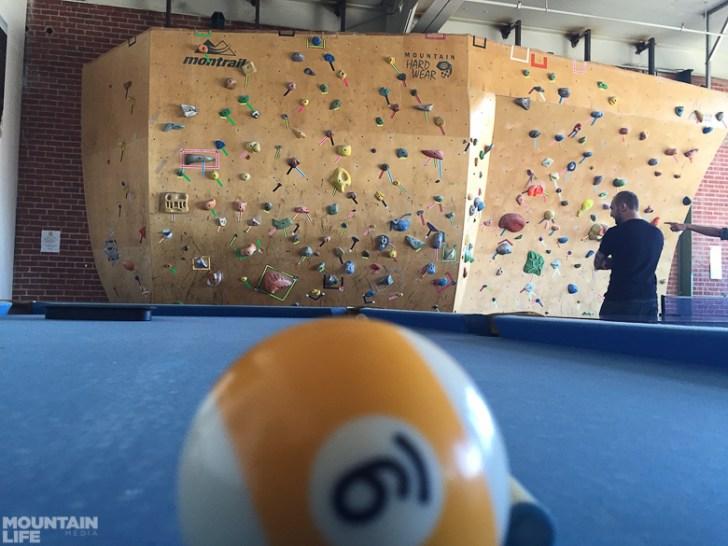 Climbing wall at Mountain Hardwear HQ. Photo by Jon Burak.