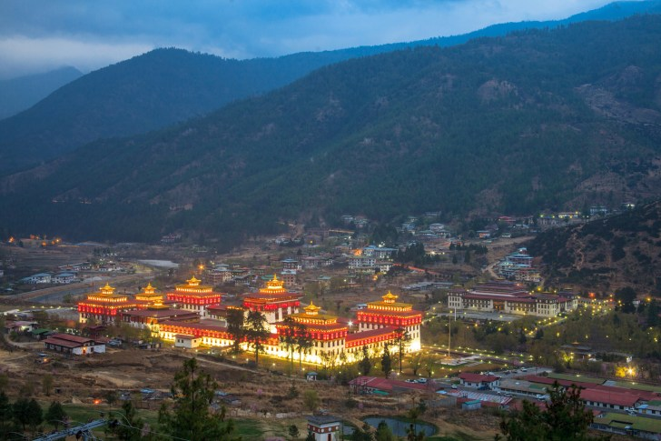 The 17th-century fortress-monastery, Tashichoedzong, in the capital city of Thimphu, is the seat of Bhutan's government. 2012