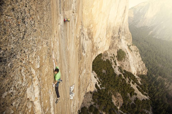 Kevin working the show stopping crux pitch on the Dawn Wall.