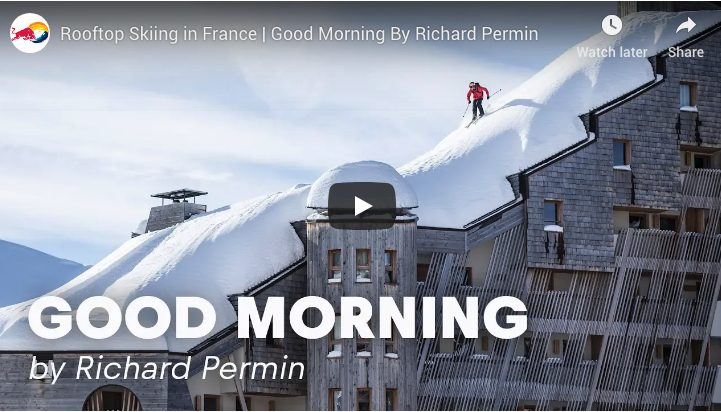 Richard Permin skiing rooftops in France