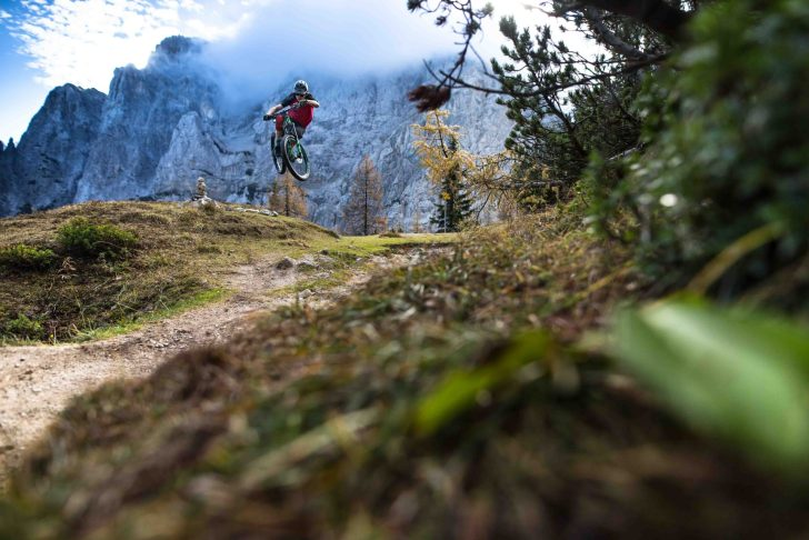 Mountain Biker Getting Air in Slovenia