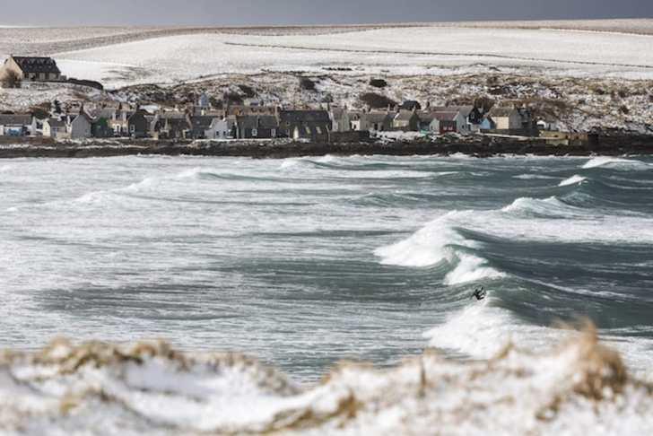 Pete Devries surfing in Scotland