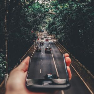 Cellphone flowing into road