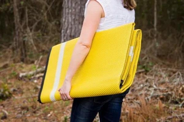 folded yellow Mountain Mat