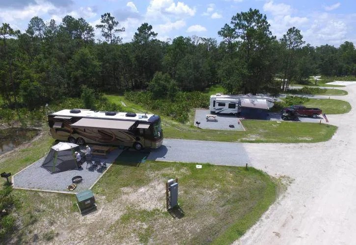 Ariel view of two RV campsites