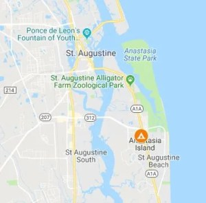 map of location of st augustine KOA campground
