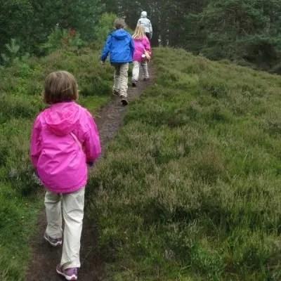 kids walking on a dirt path in a field