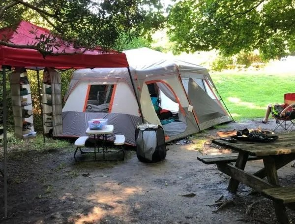 campsite with tent and picnic table