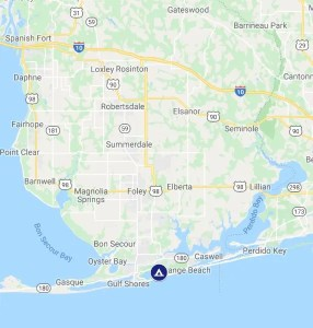 map location of Gulf Park State Campground AL