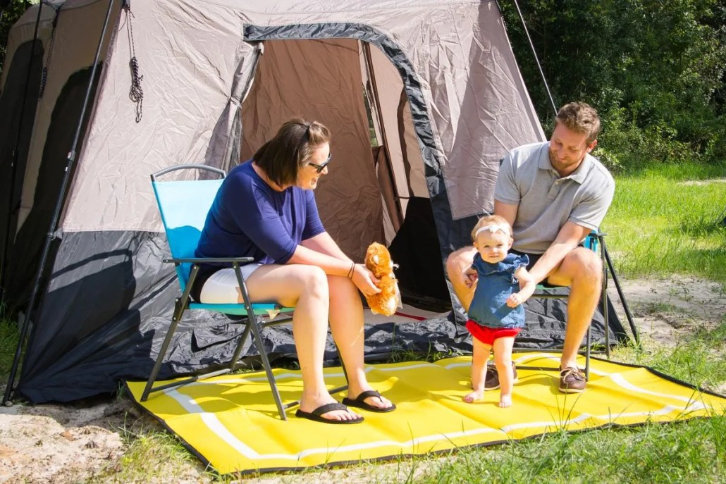 Yellow campsite mat made from recycled plastic reversible