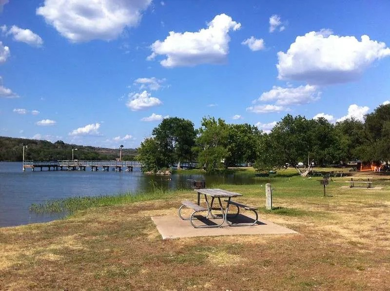 picnic table by inks lake campground by the austinot