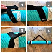 pictures demonstrating how to put the Mountain Mat carry strap on a Mountain Mat solo