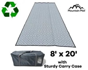 8'x20' RV Rug made from recycled plastic with sturdy carry bag