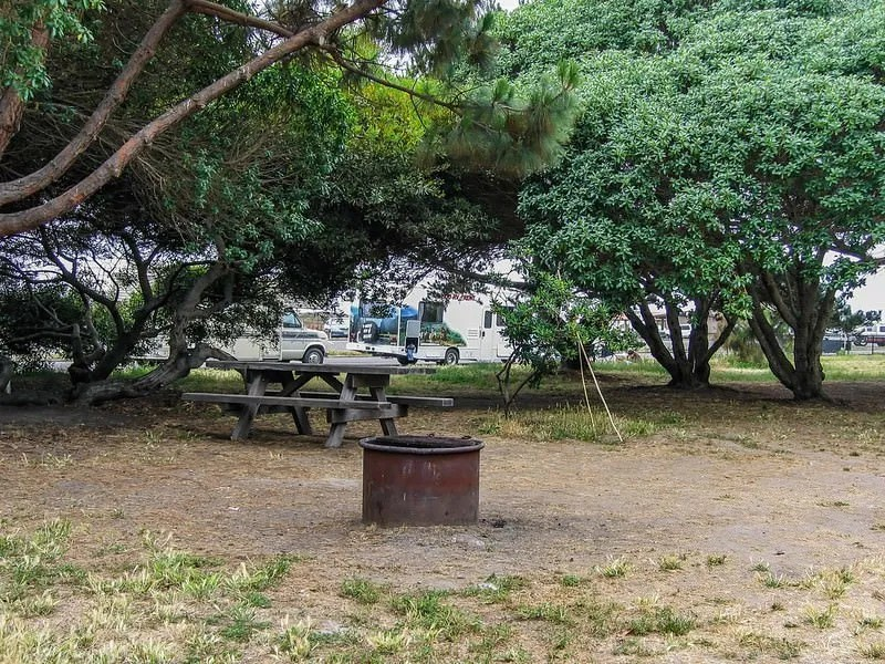 empty campsite with fire ring and picnic table