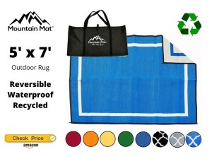Blue reversible camping rug for tents with carry bag