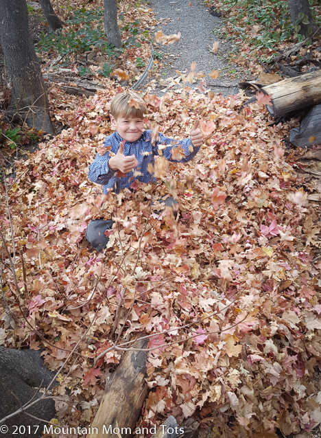 Big E playing in leaves