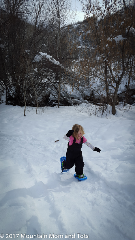 Little G on snowshoes