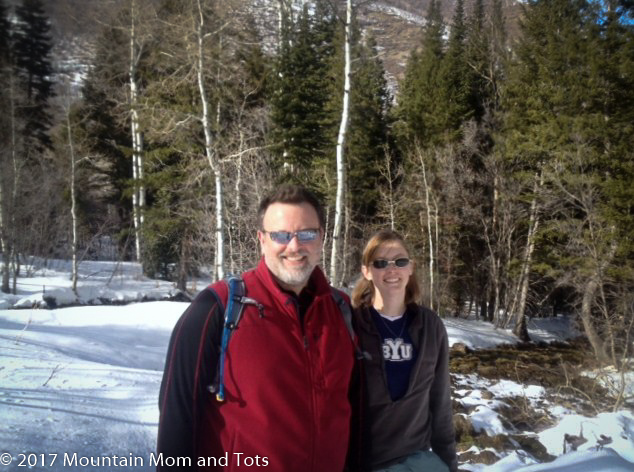 Mountain Mom and Dad snowshoeing