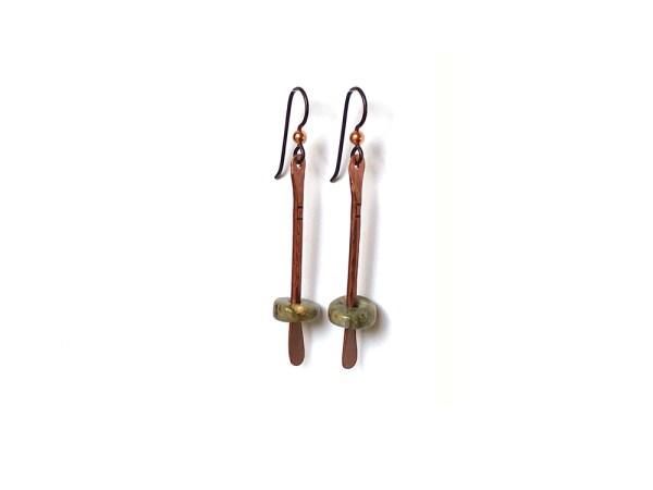 Floating Bead Forged Copper Earrings - Ocean Jasper
