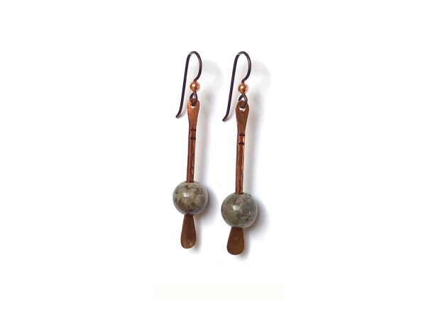 Floating Bead Forged Copper Earrings - Rainforest Agate