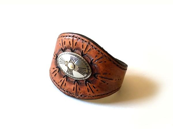Southwestern Leather Concho Cuff Bracelet - Small