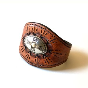 Southwestern Leather Concho Cuff Bracelet - Small