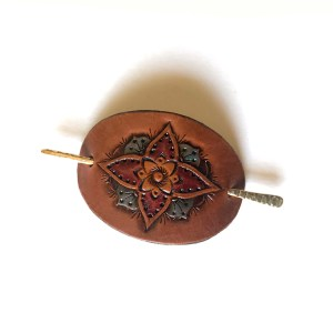 Small Leather Hair Clip - Bloom