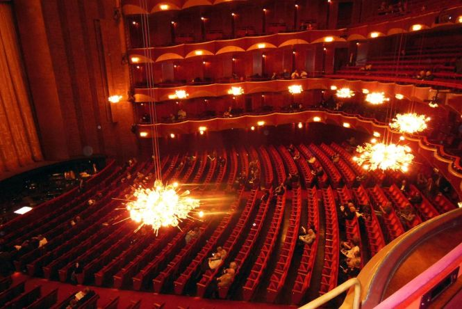05 04 Looking Down At The Auditorium And Crystal Chandeliers Of Metropolitan Opera House In Lincoln Center New York City