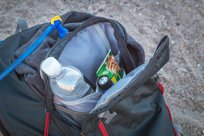 Hiking Backpack Snacks Water