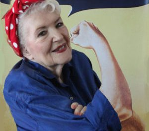 Nor Cal Face Behind Red Polka Dot Bandana on We Can Do It poster, Rosie the Riveter