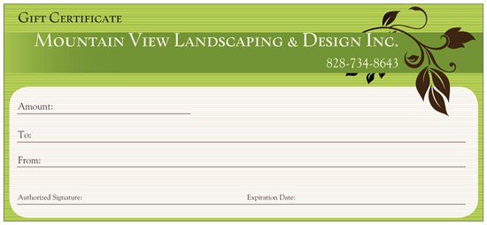 Landscaping Gift Certificate