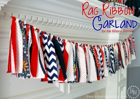 Fourth of July Rag Ribbon Garland from The Ribbon Retreat|featured on Mountain View Lane blog