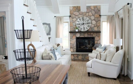 Coffee and Pine Benjamin White Simply White living room|featured on Mountain View Lane blog