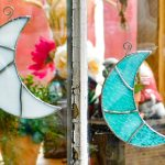 Stained glass crescent moons white & aqua