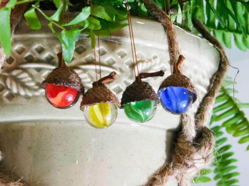 Glass Acorn Ornaments Set of 4
