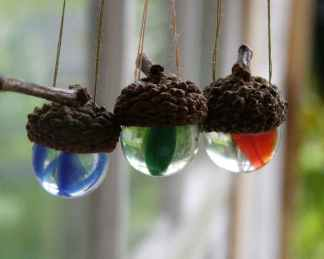 Hanging Vintage marble acorn ornaments multi-colored