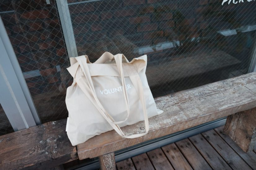 reusable grocery bag on a bench