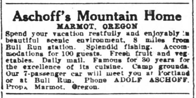 Adolf Aschoff and Marmot Oregon