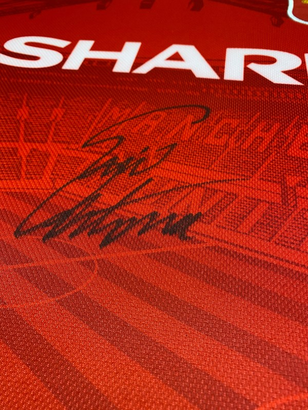 cantona 1996 signed shirt up-close