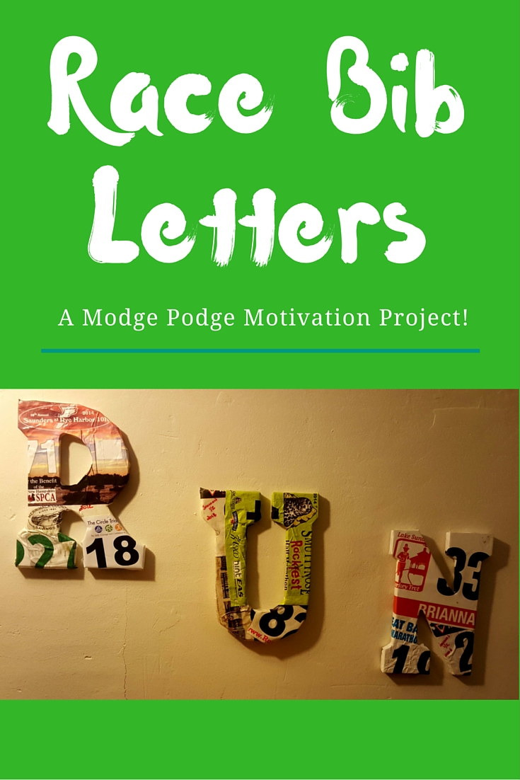 Race Bib Letter Wall Art - A Modge Podge Motivational Project