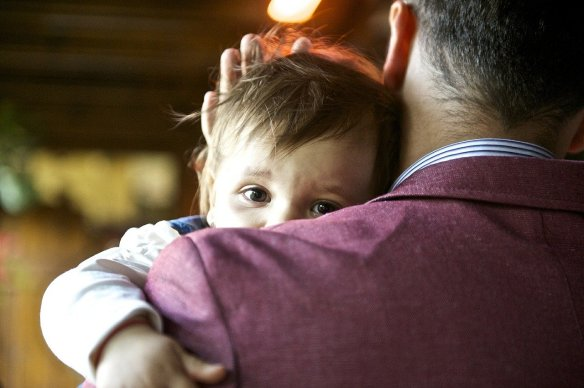 Dad soothing baby