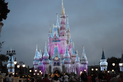 Even the castle has a little extra bling to usher in the holiday season