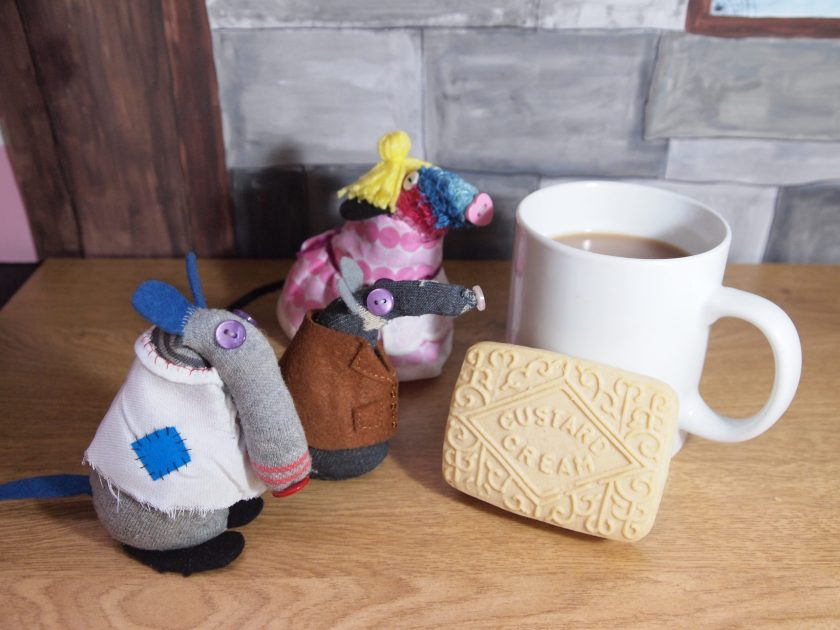 Jack, Mother and Simon come across a huge mug of tea and a giant biscuit