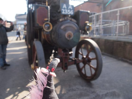 Fury looks at a traction engine
