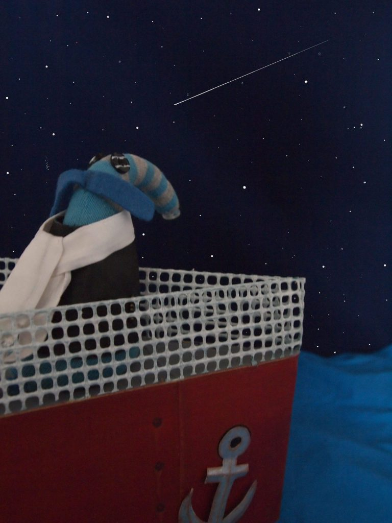 Arnold stands on the prow of the ship, looking at a shooting star in a starry sky.