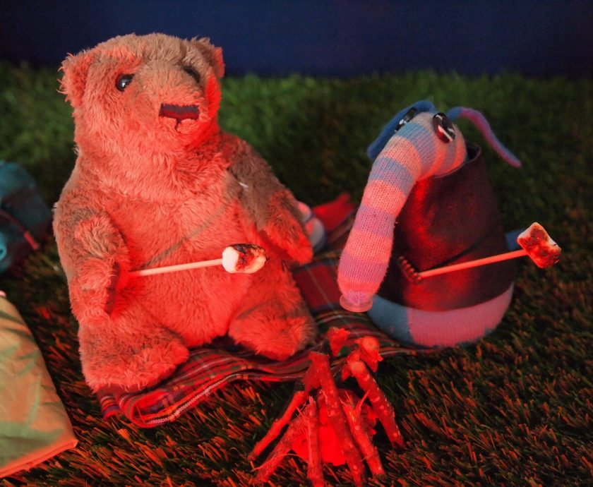 The bear and Arnold toast marshmallows in the red glow of the fire