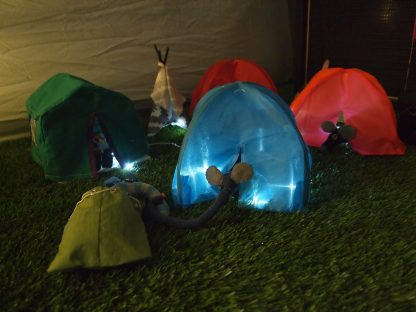 Ernest reaches out of his tent to touch snozzles with Arnold in his bivvy bag.
