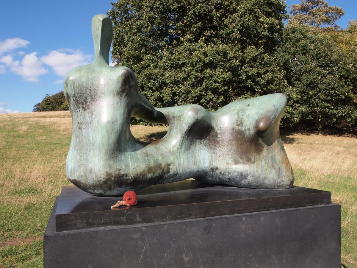 Esther reclines in front of a reclining figure by Henry Moore